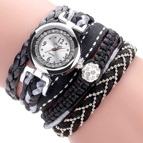 DUOYA DY080 Fashionable Fine Leather Band Winding Ladies Bracelet Watch Braided Quartz Watches