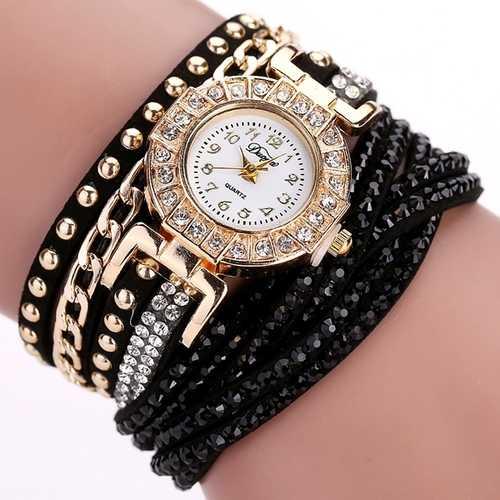 DUOYA Luxury Nation Style  Crystal Gold Bracelet Watch Ladies Vintage Quartz Wirstwatches