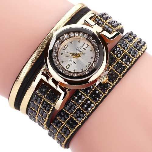 DUOYA Fashion Style Leather Band Bracelet Winding Rhinestones Dial Quartz Moement Ladies Watches