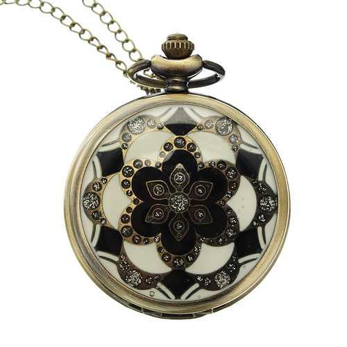 DEFFRUN Luxury European Style Flower Pattern Chain Retro Pocket Watch