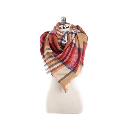 140CM Women Autumn Plaid Blanket Scarf Wraps Casual Warm Soft Scarves