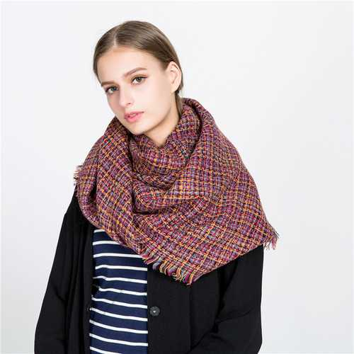 140CM Winter Warm Scarf For Women Plaid Neck Large Scarf Wrap Shawl