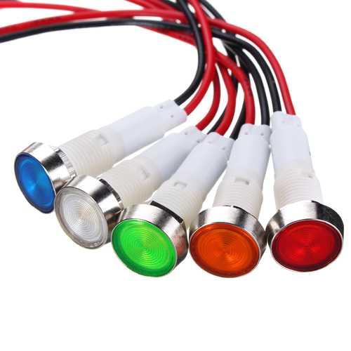 12V 10mm LED Indicator Pilot Dash Dashboard Panel Warning Light Lamp