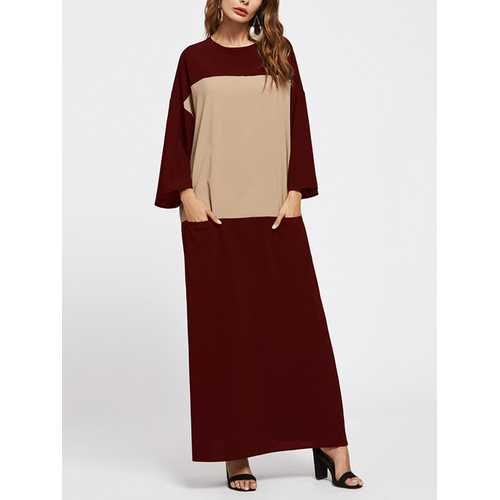 4 Color Women Patchwork Pockets Maxi Long Sleeve Dress