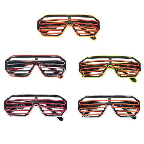 Sound Control Flash EL Wire Glasses Neon LED Light Up Shutter Glow Frame Glasses