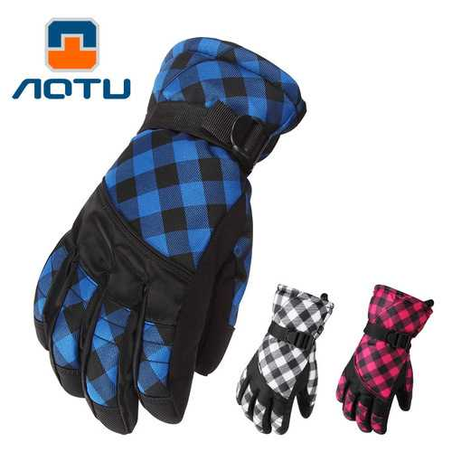 AOTU Winter Outdoor Sport Exercise Waterproof Gloves Thickening Climbing Mountain Riding Skiing Warm