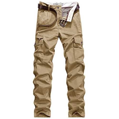 Fall Middle - aged Men's Multi Pocket Casual Business Pants Fashion Cotton Loose Trousers
