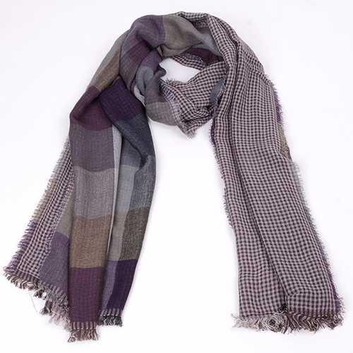Men Warm Soft Cotton Scarf Casual Stripe Plaid Tassel Winter Scarves