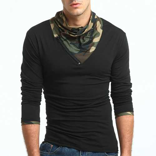 Men's Casual Fashion Camouflage Cotton T-Shirts Plus Size Fitness Long Sleeve Tees