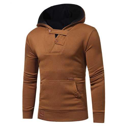 Hit Color Hoodies Sweater Leisure Patchwork Cotton Button Soprts Hoodies Sweatshirts