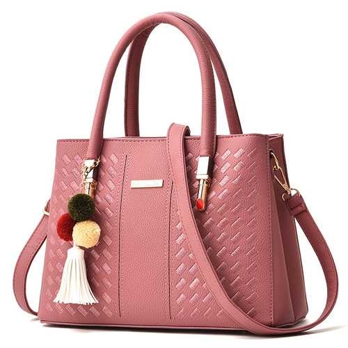 2 Main Pockets Women PU Leather Casual Handbag Crossbody Bag