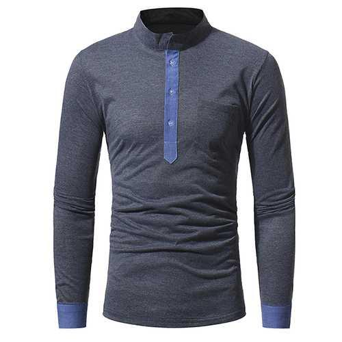 Autumn Winter Fashion Classic Mandarin Collar T-shirt Men's Casual Slim Fit Long Sleeved T-shirt