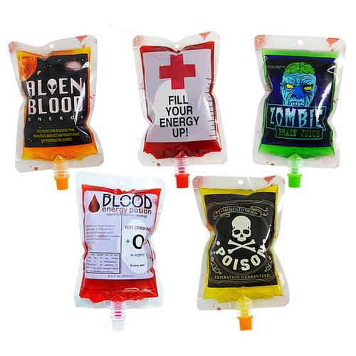 250ml PVC Reusable Blood Energy Drink Bag Halloween Pouch Props Vampire Cosplay Festive Party Supplies