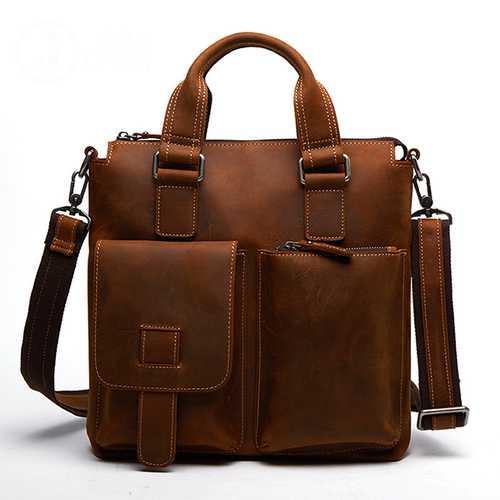 Men Genuine Leather Retro Handbag Crossbody Bag Casual Business Shoulder Bag Briefcase