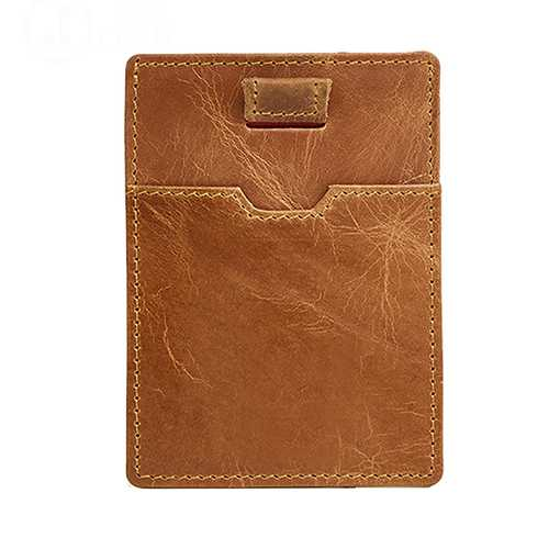 RFID Blocking Anti Theft Men Genuine Leather Card Holder Retro Casual Document Wallet