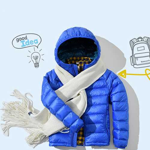 Kids Light Weight Pure Color Long Sleeve Zipper Winter Hooded Down Jacket