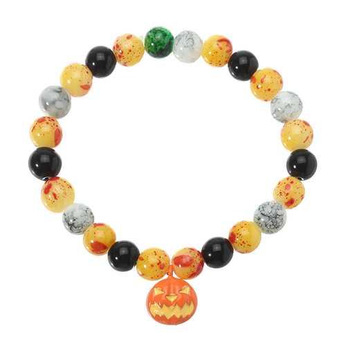 Halloween Pumpkin Skull Head Bracelet Elastic Beaded Chain Party Funny Bracelet