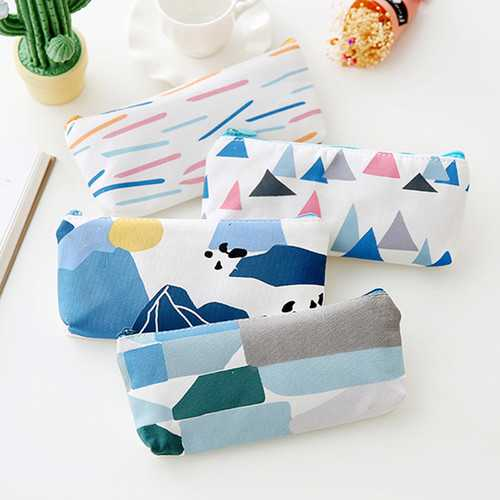 1Pcs Portable Canvas Large Capacity Zipper Pencil Case Bags School Stationery Storage Organizer