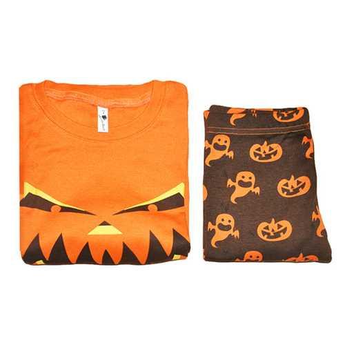 2Pcs Halloween Costume Kids Pumpkin Printed Long Sleeve Tracksuit
