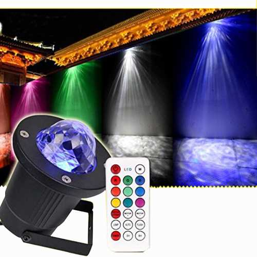 12W Remote Control Water Wave Effect Outdoor Projector Light with 7Colors Decor for Christmas Party