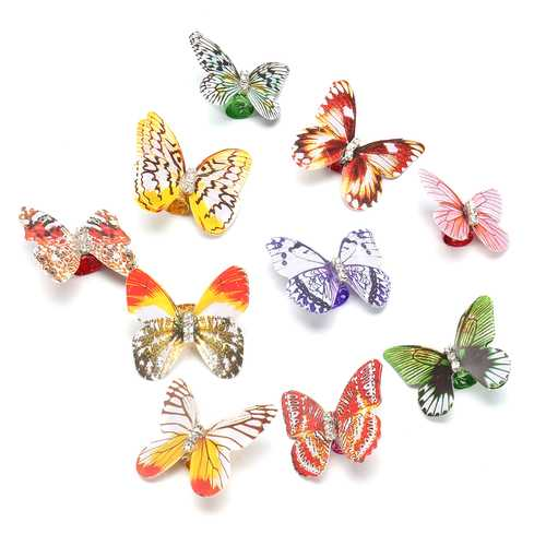 10pcs Butterfly Hair Braid Dreadlock Beads Colorful Adjustable Hair Cuffs Clips Rings Tube
