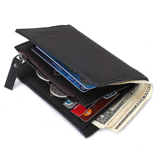 12 Card Slots Men Genuine Leather Minimalist Tri-fold Wallet Card Holder Zipper Coin Bag