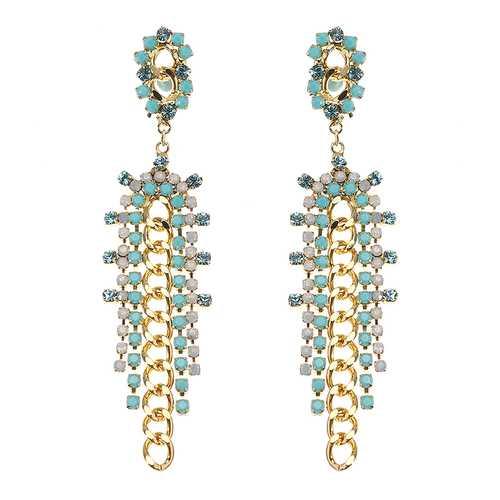 JASSY® Bohemian 18K Gold Plated White Opal Rhinestones Elegant Flower Long Link Tassel Earrings