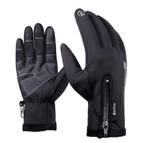 DB03 Unisex Touch Screen Windproof Waterproof Sports Winter Full Finger Ski Gloves With Zipper