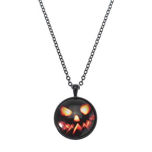 Halloween Pumpkin Witch Necklacee Cute Chain Time Gem Glass Pendant Necklacee
