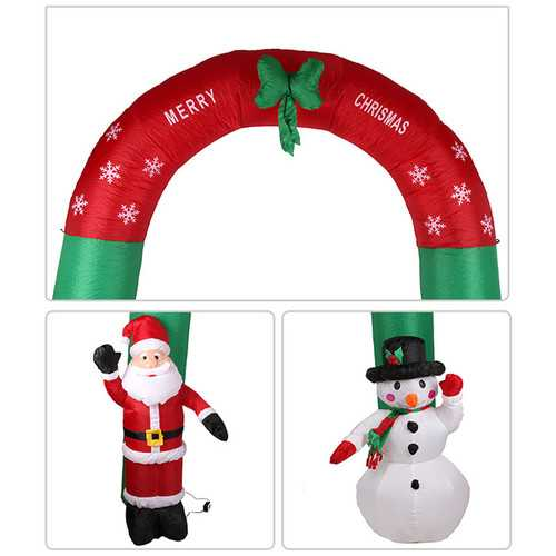 Christmas Party Home Decoration Inflatable 2.4 Meters Snow Arches With Integrated Fan Toys Propsr