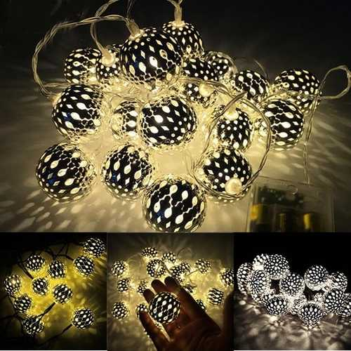 Battery Operated 20LEDs Warm White Pure White Round Shaped Fairy String Light for Christmas Patio