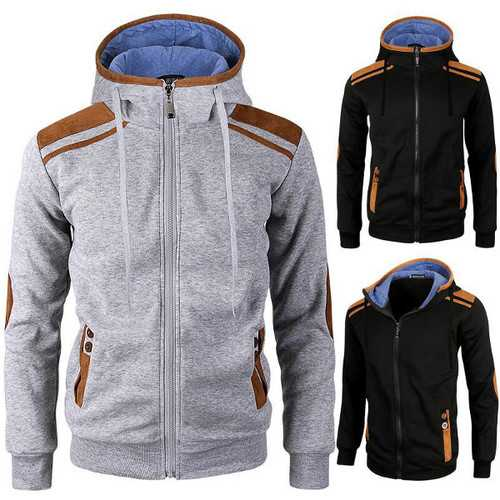 Casual Zipper Deerskin Stitching Sport Hoodies