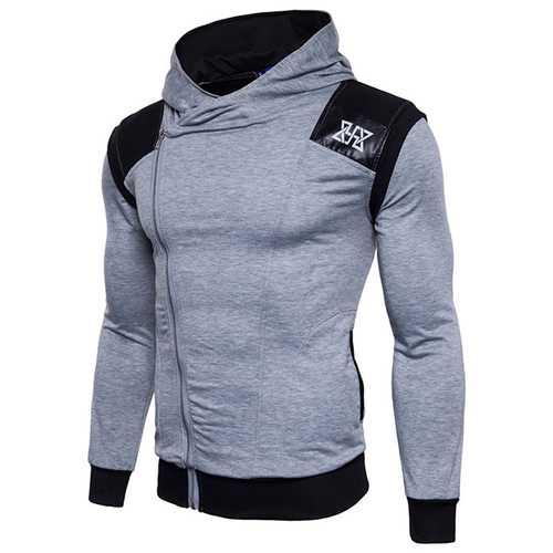Fashion Zipper Design Stitching Hoodies Sweatshirts