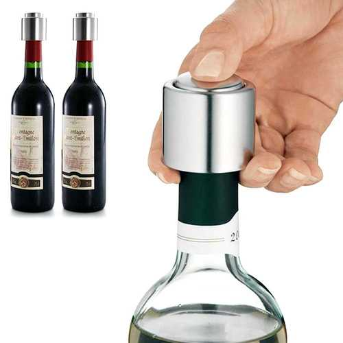 Stainless Steel Vacuum Sealed Wine Bottle Stopper Preserver Pump Sealer Bar Stopper Keep Your Best Wine Fresh Fits 750ml Red Wine Bottle Stopper