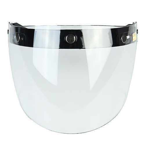 Flip Up Helmet Shield Lens Visor 3 Snap For Motorcycle Half Helmet Clear Silver