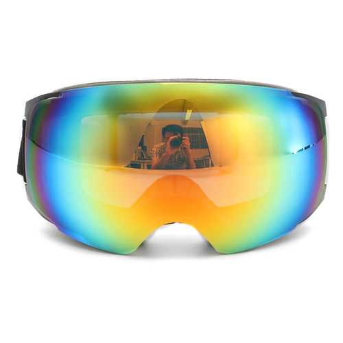 Double Lens Snowboard Ski Goggles Magnet UV Protection Anti Fog White Frame