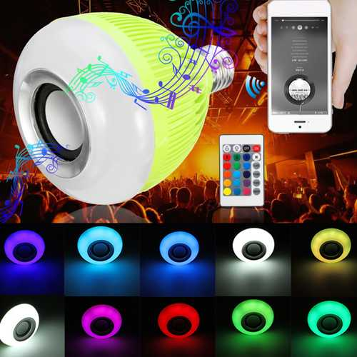 E27 12W RGB 16Colors Wireless Bluetooth Speaker Music LED Light Bulb With Remote AC100-240V