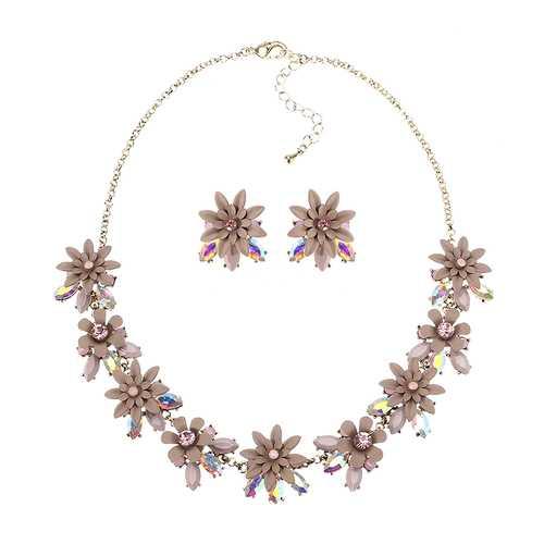 JASSY® Women Elegant Flower Crystal Jewelry Set Luxury 18K Gold Plated Gemstone Earrings Necklace