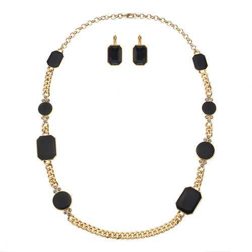 JASSY® Luxury Gold Precious Black Gemstone Jewelry Set Geometric Earrings Chain Necklace for Women