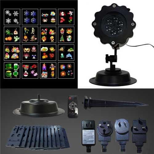 16Patterns Remote Control LED Stage Light Waterproof Moving Sparkling Landscape Halloween Lamp
