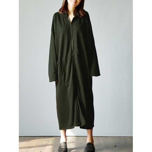 Casual Loose Pure Color Pocket Long Sleeve Hooded Dresses