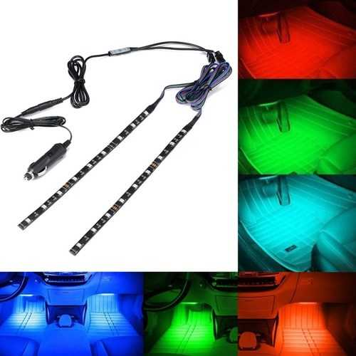 ARILUX® 2PCS 30CM 5050 SMD Waterproof RGB LED Strip Light with DC Mini Controller+Car Charger DC12V