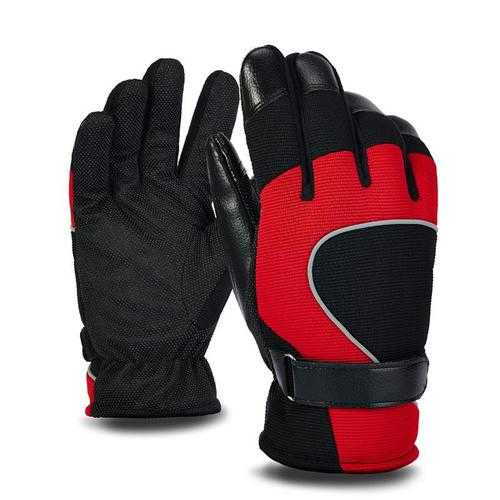 PJ02 Men Winter Windproof Anti-Slip Mittens Gloves Reflective Strip Leather Patchwork Fleece Warm