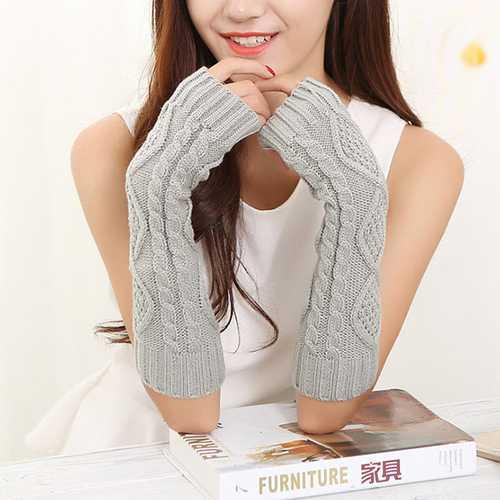 Women Winter Warm Knitting Fingerless Long Sleeve Gloves Casual Rhombic Pattern Gloves