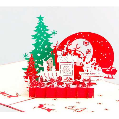 Christmas 3D Pop Up Merry Christmas Greeting Card Christmas Gifts Party Greeting Card