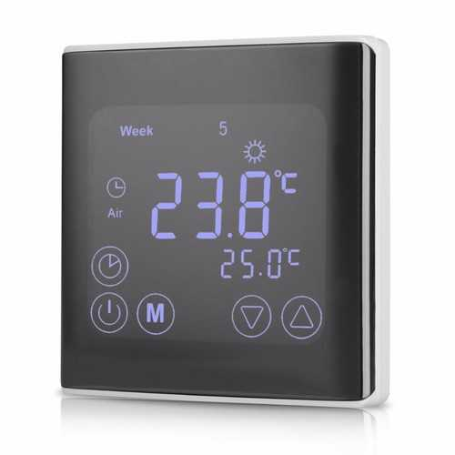 LCD Touch Screen Wall Floor Thermostat 85-250V 16A Weekly Programmable Automatic Temperature Control System