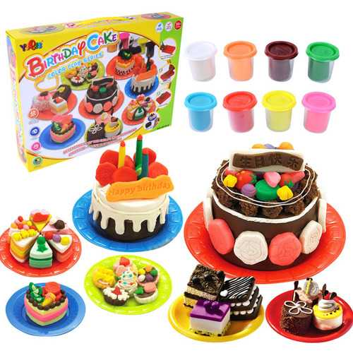 Sweet Children Kitchen Toys Birthday Cake Color Clay Suit Handmade Toys