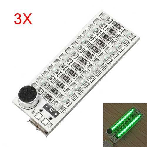 3Pcs 2x13 USB Mini Spectrum Green LED Board Voice Control Sensitivity Adjustable