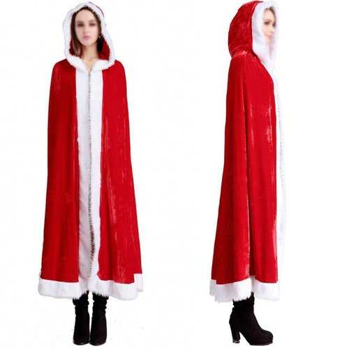 Christmas Costume Red Riding Hooded Cape Belle Velvet Cape Santa Father Cloak Princess Cosplay