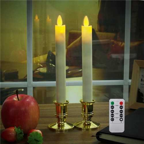 2Pcs Battery Operated Remote Control LED Flameless Candle Table Lamp for Halloween Churches